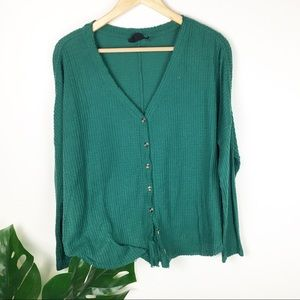 Out for under emerald green waffle button down S